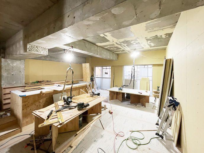【名古屋市東区K様邸マンションリノベーション】大工工事5:ボード貼り&収納造作